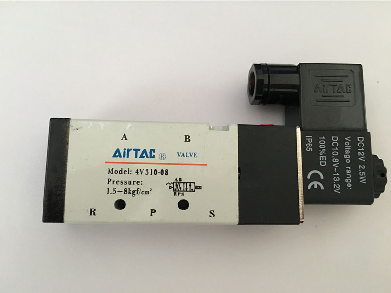 Électrovanne air 4V310-08 Port 1/4 BSP 5/2 vanne de régulation ainsi avec Plug type rouge LED lumière DC12V, DC24V ou AC110V AC220V