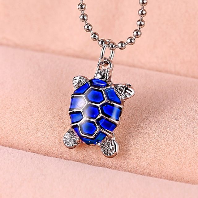 Online shop newest power necklace women animal tortoise turtle newest power necklace women animal tortoise turtle mood necklace pendant with bead chain temperature change color silver jewelry mozeypictures Image collections