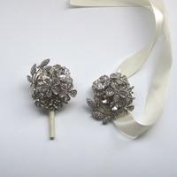 Wedding Grooms Brooch Boutonniere Ivory Grey Rhinestone Wrist Corsage Groomsmen Buttonhole Prom Crystal Pin Accessories FE9