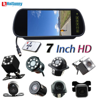 HaiSunny 7 Inch Color LCD Parking Rearview Mirror Monitor Remote Control With Backup Revese Camera Auto Parking System