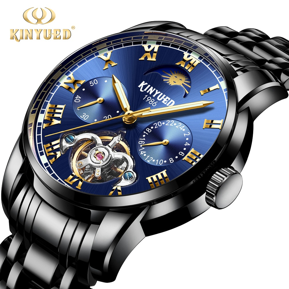Kinyued Skeleton Tourbillon Mechanical Watch Automatic Men Classic Blue Dial Stainless Steel Mechanical Wrist Watches J028G-4Kinyued Skeleton Tourbillon Mechanical Watch Automatic Men Classic Blue Dial Stainless Steel Mechanical Wrist Watches J028G-4