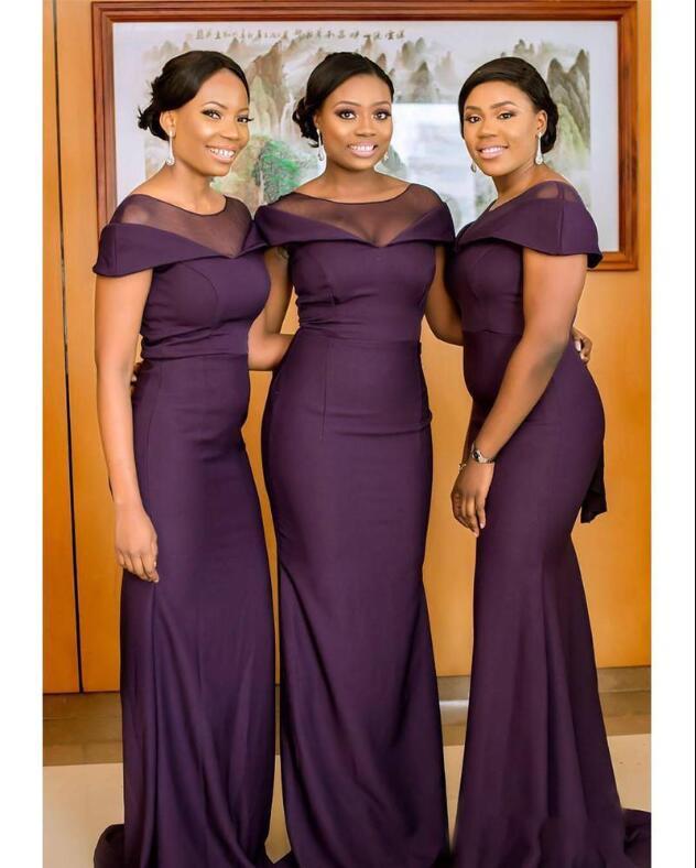 Nigrian Bridal Wedding Dresses: South African Dark Purple Bridesmaids Dresses Summer Boho