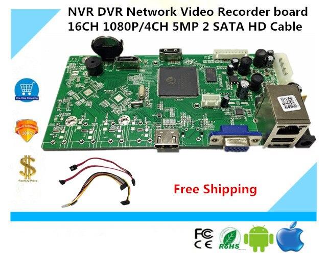 bilder für NVR DVR Netzwerk Video Recorder bord 16CH 1080 P/4CH 5MP 2 SATA HD Kabel Onvif P2P Wolke XMEYE CMS Bewegung deection NBD7816R-F-V2