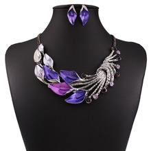2016 New Retro Leaf Peacock Crystal Rhinestone Drop Earrings And Short Necklace Jewelry Sets SHC-NER-02