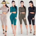 Adogirl 2 Piece Set Women Pants And Top Casual Long Sleeve Short Crop Top And Knee Length Pants For Ladies Bodycon Slim Suits