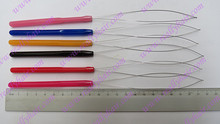 12 pieces pack plastic hanle pulling loop threader micro ring tools Nano ring Hair Extension Tools
