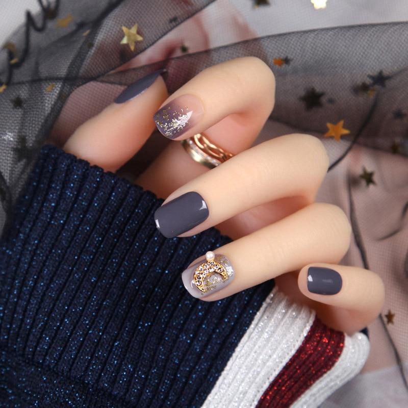 24pcs Fashion Fake Nails with Glue For Girls Candy Color Grey DIY Nail Art Tips 3D Moon Style Design Build press on nails short(China)