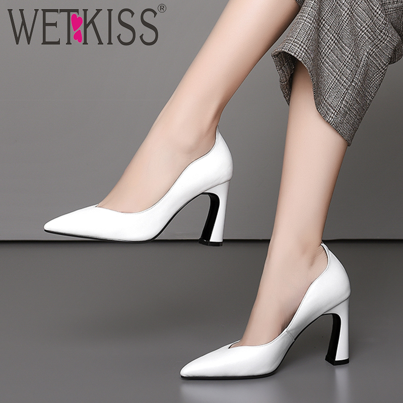 WETKISS Genuine Leather High Heels Women Pumps Pointed Toe Footwear Shallow Female Shoes Office Shoes Woman