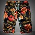 Cortocircuitos de la playa de la personalidad de impresión 2016 verano sección delgada transpirable confort casual hombres pantalones cortos de lino de gran tamaño M-5XL