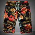 Men's beach shorts personality printing 2016 summer thin section breathable comfort casual men's linen shorts large size M-5XL