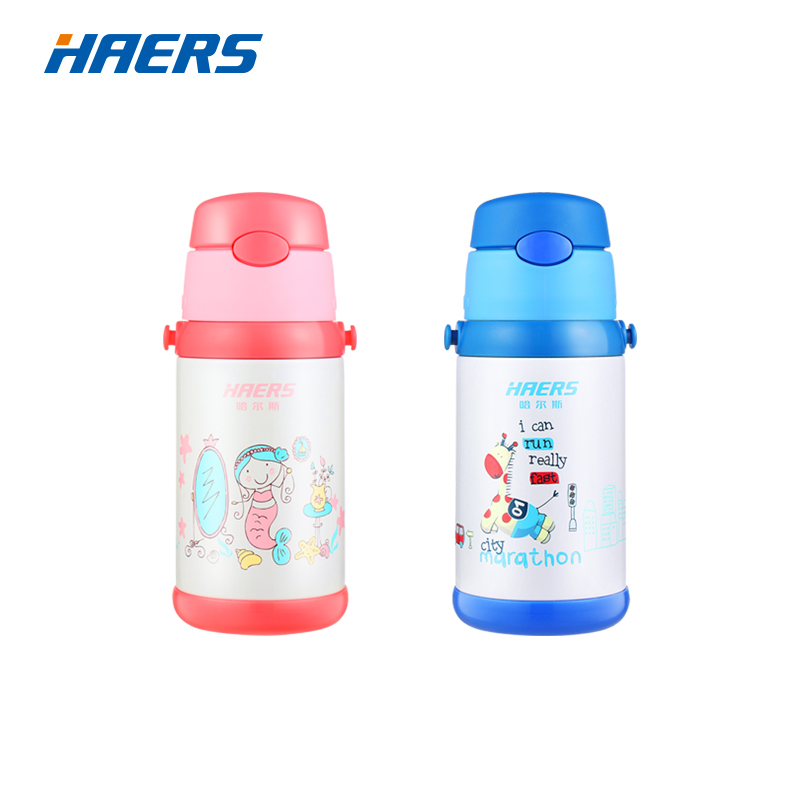 HAERS 400ml Cute Kids Thermos Leak Proof Stainless Steel Thermos Kids Straw Cup