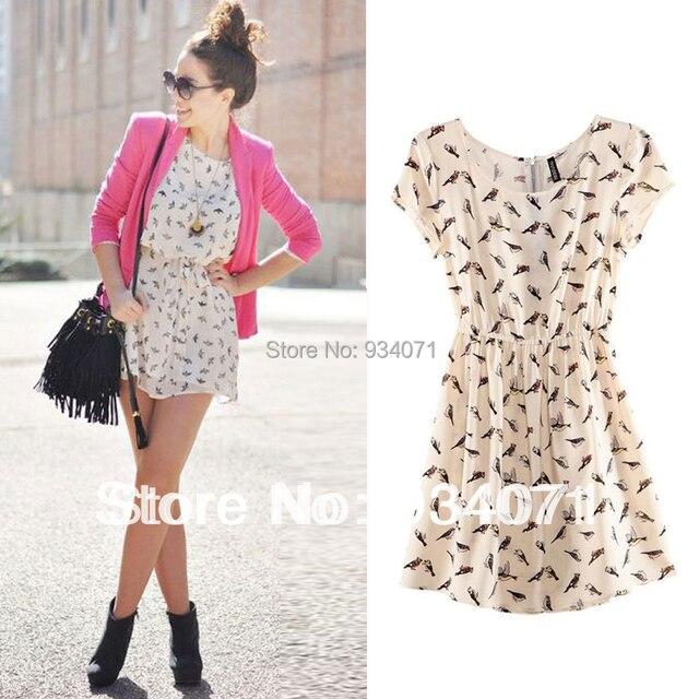 New Fashion 2015 Bargain Hot Sale Spring Summer Elegant O-neck Sleeveless Print Animal Casual Women Mini Dresses
