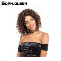 Soph queen Hair Malaysia Curly Wave Human Hair Wigs 14 Inch 153g #2/4 Color Virgin Hair Lace Wig