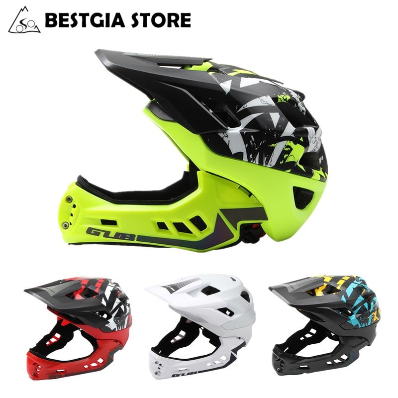 f1bd0a732f4a3 Nuevo fuera de carretera de montaña de cara completa bicicleta casco  deportes seguridad chicos cubierto cascos DH casco abajo casco de bicicleta  54 58 cm en ...