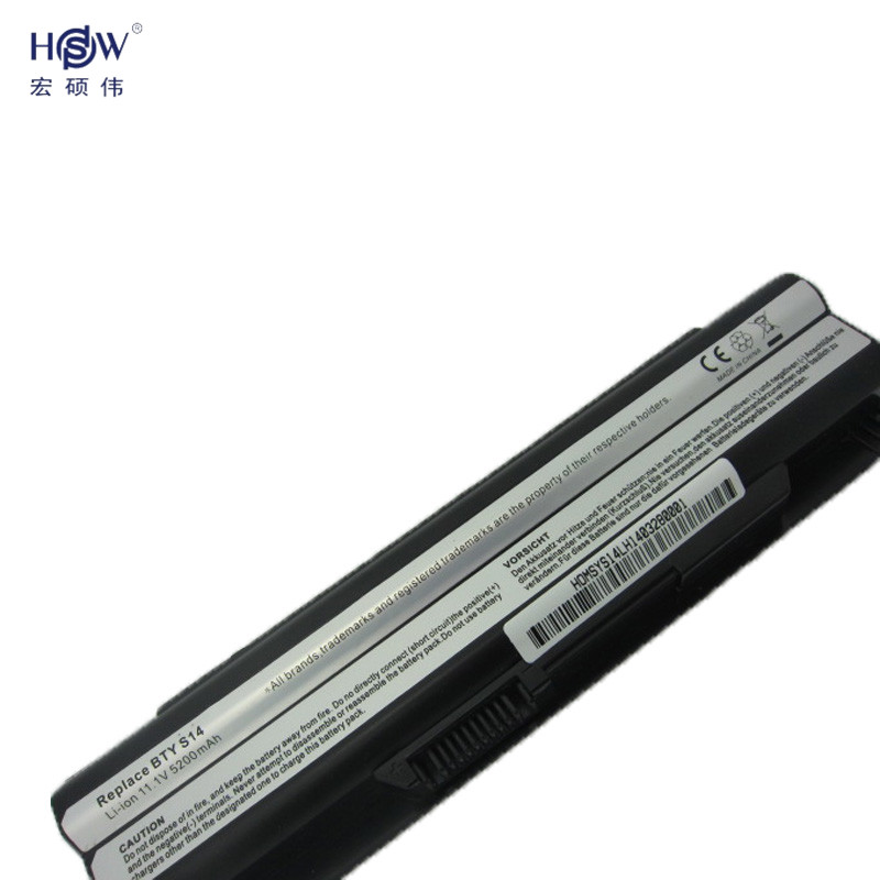 HSW new rechargeable battery for 40029150 40029231 40029683 BTY S14 BTY S15 E2MS110K2002 E2MS110W2002 E2MS115K2002 MSI6A200SSSA1 in Laptop Batteries from Computer Office