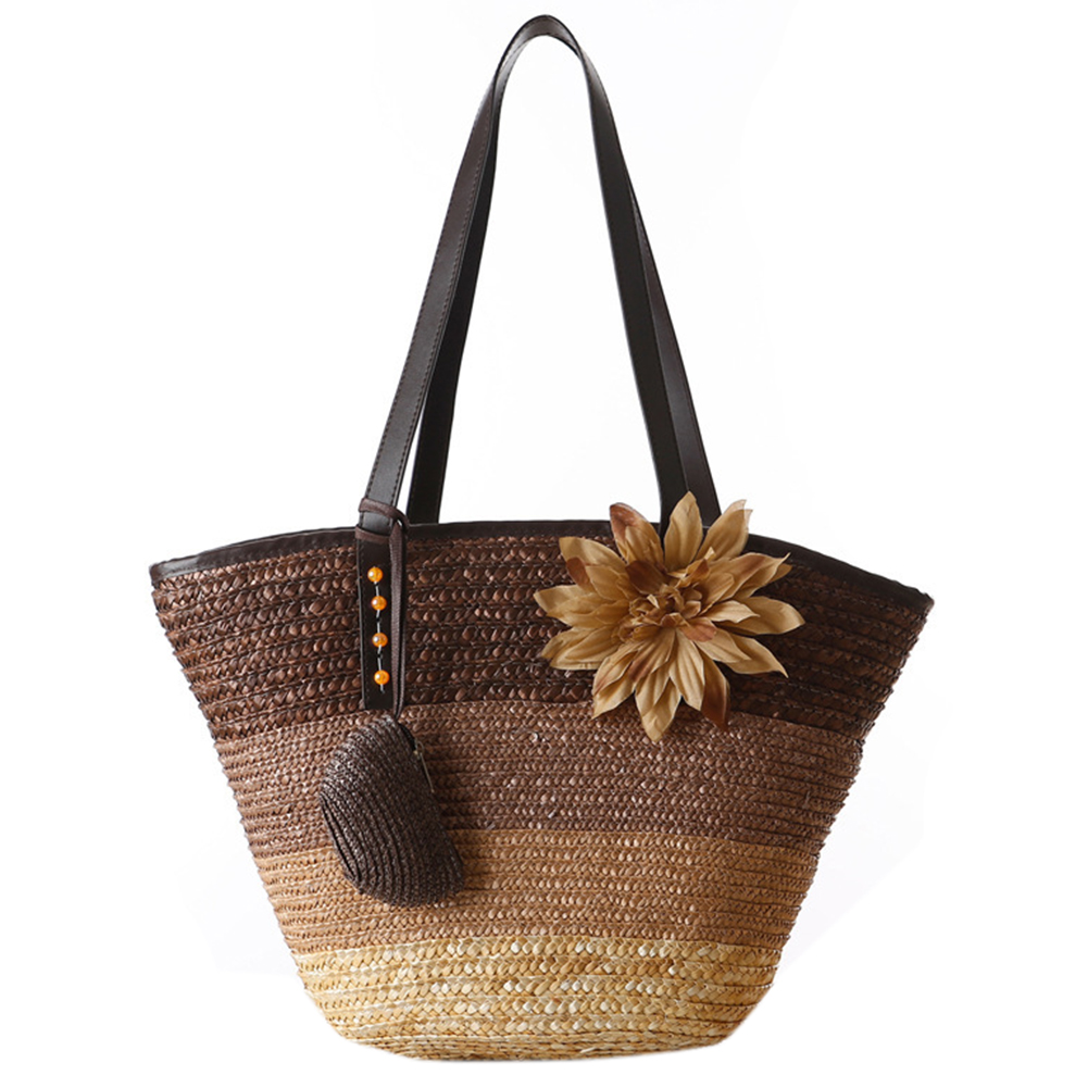 Knitted Straw bag Summer flower Bohemian fashion women's handbags color stripes shoulder bags beach bag big tote bagsBrown 2pcs lot acrylic gel stainless steel nail art rhinestones paillette nipper picking nail clippers nail trimmer manicure tools