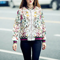 2017 Spring Autumn Bomber Jacket Women Casual Long Sleeve Floral Print Coat Vintage Women Clothing Bomber Jacket Chaquetas mujer