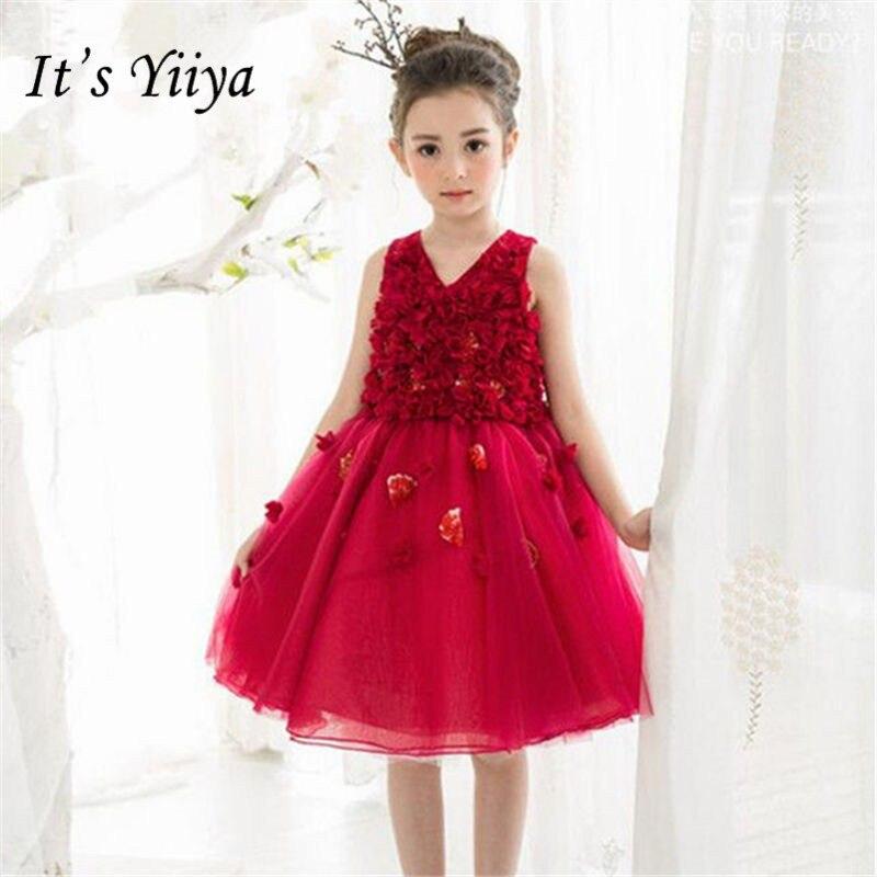 It\'s yiiya Fashion Pleat V-neck Flower Girl Dresses Red Knee-Length ...