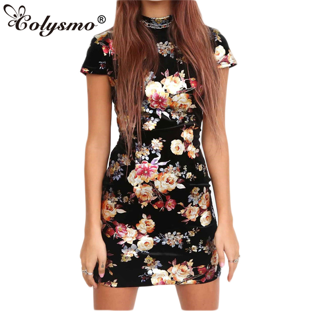 070d610b84 Colysmo Summer Dress Gold Spray Metallic Floral Bodycon Dress Sexy Backless  Women Open Back Lace Up Mini Party Dress Vestido New