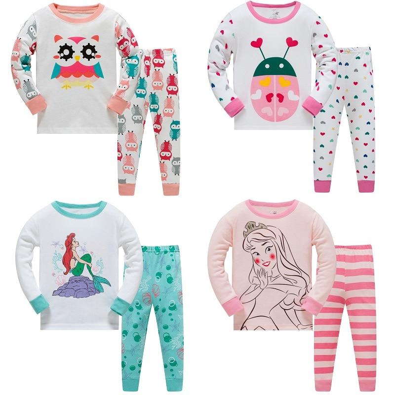 Aggressiv 2019 Baby Cartoon Pyjamas Mädchen Pyjamas Set Jungen Blusen Und Hosen Kinder 2-stück Nachtwäsche Baumwolle Kleidung Set 3y-8y GläNzend