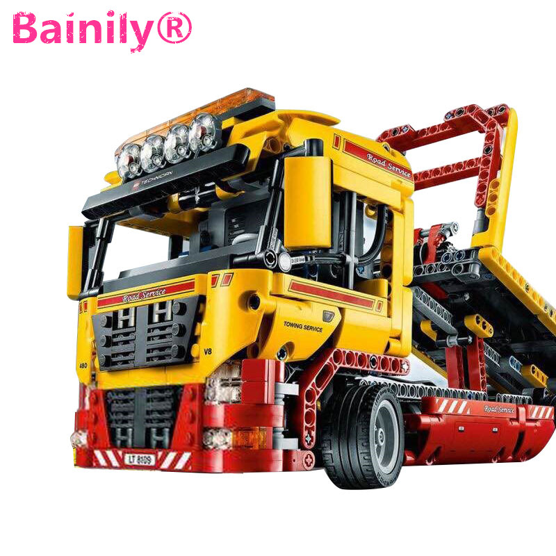 [Bainily]Flatbed Trailer 2 In 1 Truck Model Transformable Building Block Sets DIY Toys Compatible With LegoINGly Technic Gift technican technic 2 4ghz radio remote control flatbed trailer moc building block truck model brick educational rc toy with light