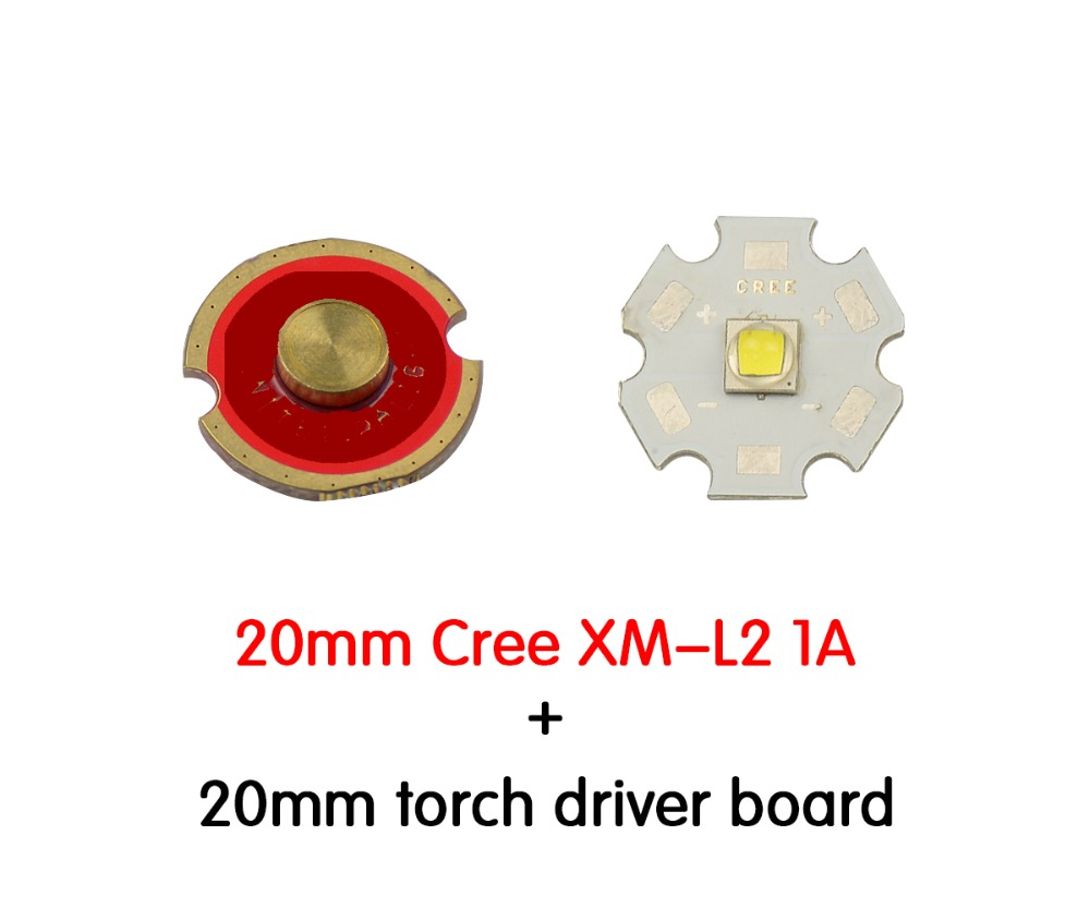 20MM Cree XM-L2 U2 LED BALL Cool white + 20mm XM-L Flashlight Driver 5 Modes 3.7-4.2V flash light Circuit Board DIY torch