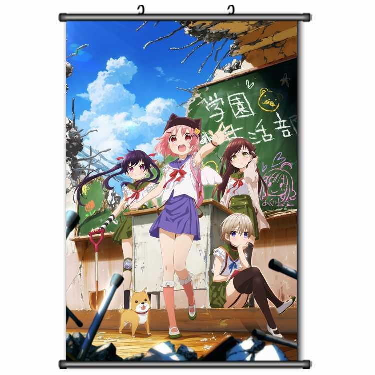 Anime Jepang Gakkou Gurashi! Sekolah-Live! Takeya Yuki & Ebisuzawa Kurumi Rumah Dekorasi Dinding Scroll Poster Dekoratif Gambar