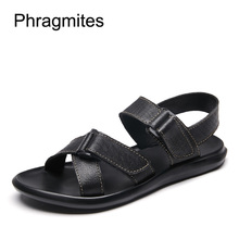 Phragmites 2019 Newly Black Men Sandals Breathable Casual Beach Comfortable Drive Sandalias Mujer Leather Shoes