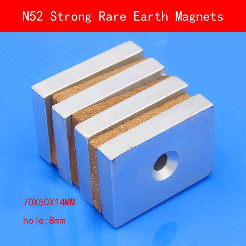 1PCS 70X50X14mm hole 8mm N52 Super Powerful Strong Rare Earth Magnet permanent N52 plating Nickel Magnets 70mm*50mm*14mm 70 50 bigest strong magnets 70mm x 50mm disc powerful magnet craft neodymium rare earth permanent strong n50 n52 70 50 70x50