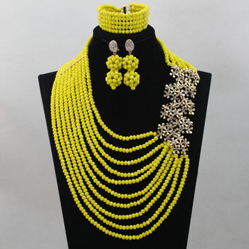 2016 Yellow Nigerian Crystal Beads Charming African Wedding Jewelry Sets New Arrival Bridal Jewelry Sets Free Shipping ALJ695
