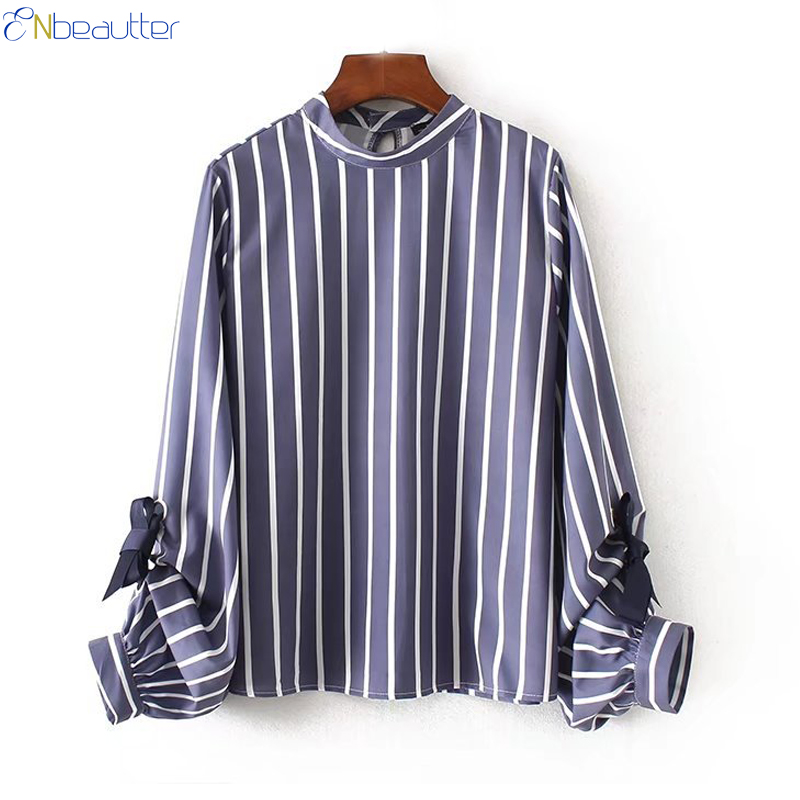Methodical Enbeautter Autumn Women Striped Blouse With Butterfly Knot Long Sleeve Stand Collar Tops Fashion Shirt For Office Ladies Blusa Jade White Women's Clothing