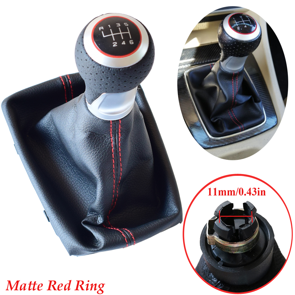 5/6 Speed Silver Ring Matte Chrome Gear <font><b>shift</b></font> <font><b>knob</b></font> boot Gaitor For <font><b>Audi</b></font> <font><b>A4</b></font>(2001-2008)<font><b>B6</b></font>(2001-2005)A6 C5 (2001)For Seat Exeo 2011 image