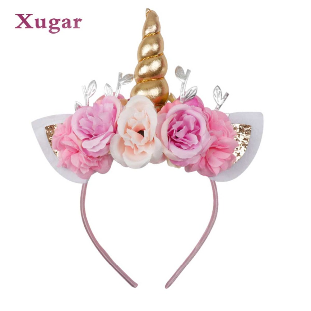 Xugar Hair Accessories Unicorn Horn Hairband For Girls Kid Children Birthday Party Gift Rainbow Headband Glitter Bow Hair Hoop