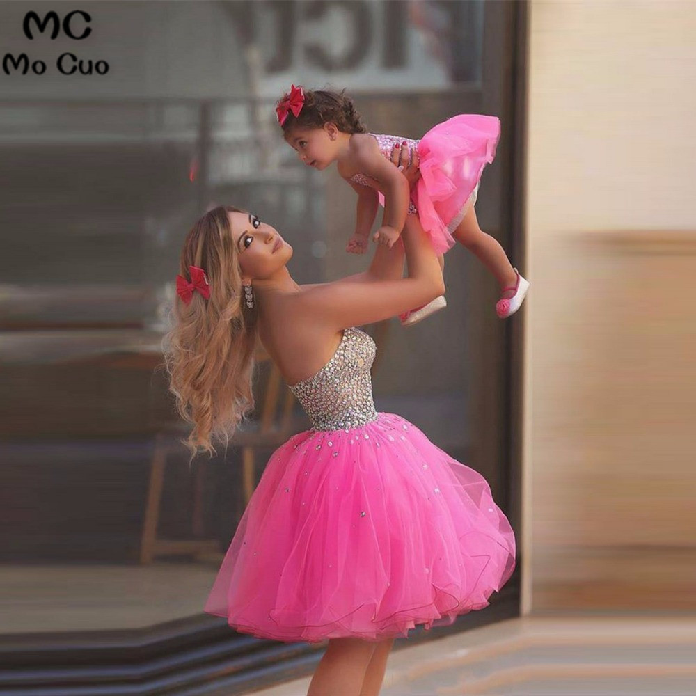 Cute 2019 Baby Pageant For Little Girls Kids Prom Dresses Crystal Rhinestone Mather And Daughter Dress Flower Girl Dresses