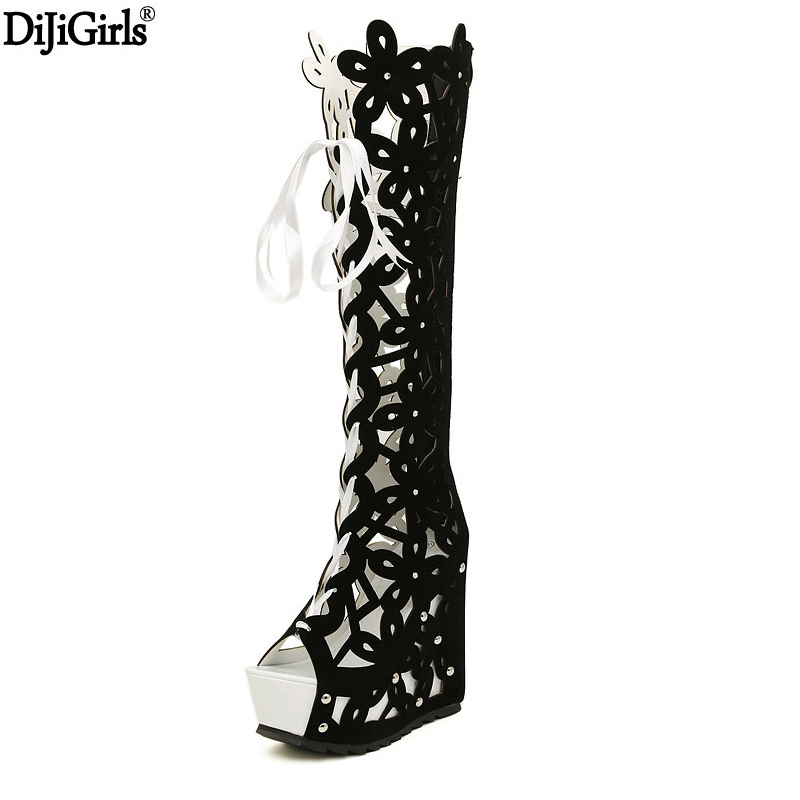 Women Fashion Boots Platform Wedges Sandals Lace Up Knee High Boots Sexy Shoes Woman High Heel Summer Open Toe Boots Black shoes phyanic 2017 gladiator sandals gold silver shoes woman summer platform wedges glitters creepers casual women shoes phy3323