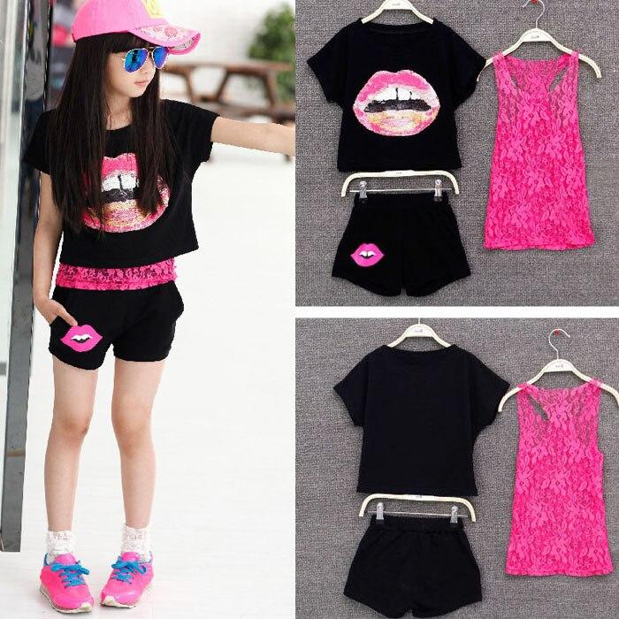 2018 Girls Summer Clothing Set Kids Girls Clothes European Style 3 Pieces Set Lace Tank Top & T-shirt & Shorts Sets Summer Style стоимость