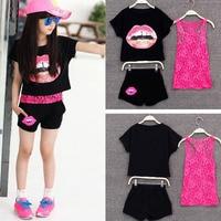 Retail 2015 Girls Summer Clothing Set Kids Girls European Girls 3 Pieces Sets Lace Tank Top