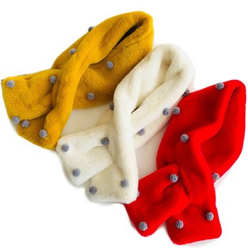 65d4fb35f3e3 Winter NEW Girl Children Scarf Furs Collar Scarves With Dot Thick ...