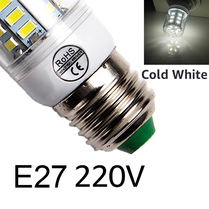 E27 светодиодный светильник E14 светодиодный лампы SMD5730 220V лампы кукурузы 24 36 48 56 69 72 светодиодный s люстры лампы в форме свечи светодиодный светильник для украшения дома ампулы - Испускаемый цвет: E27cold white
