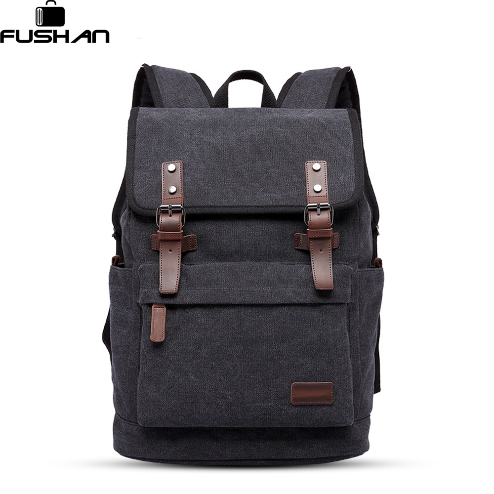 FUSHAN New Vintage Backpack Canvas Men Backpack Leisure Travel School Bag Unisex Laptop Backpacks Men Backpack Mochilas vintage multifunction business travel canvas backpack men leisure laptop bag school student rucksack