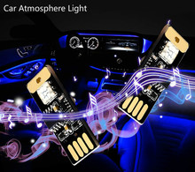 ZUORUI Carro CONDUZIU a Iluminação Do Carro Atmosfera de Luz USB Controle De Voz RGB Colorido Da Música Luzes Mini Interior Ambiente Decorativo Lâmpadas