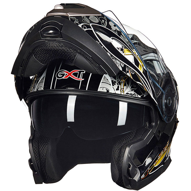 New brand GXT Double lens motorcycle helmet Motorbike flip up helmet Racing full face helmet Moto cascos motociclistas capacete red green lines double lens motorcycle crash helmet high quality flip up electric motorbike full face motorcycle helmet