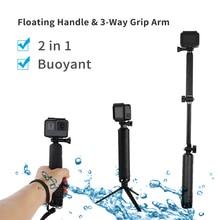TELESIN For Multi fonction Accessories Floating Hand Grip&3 Way Grip Arm for GoPro Hero7 6 5 4 3 5S SJCAM EKEN XiaomiYI for DJI