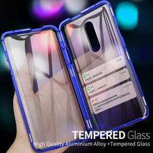 Luxury Metal Magnetic Front Back tempered Glass Case For Oneplus 7 Pro Cases Flip cover For Oneplus 7 Bumper  Metal Frame Coque