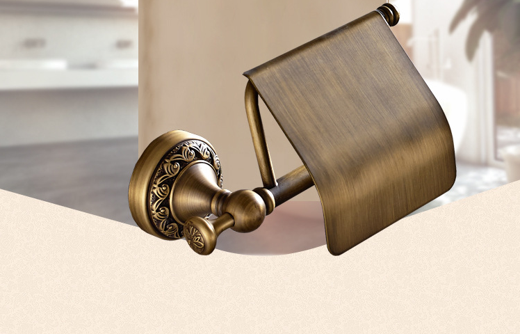 Retro Wall Mounted Antique Brass Toilet Paper Roll Tissue Holder Bathroom Shelf antique brass toilet paper holder box wall mounted bathroom accessories sanitary wares 7010a