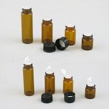100X1ml 2ml 3ml 5ml Mini Amber cam uçucu yağ şişesi orifis redüktör kapağı küçük kahverengi cam şişeler delik eklemek
