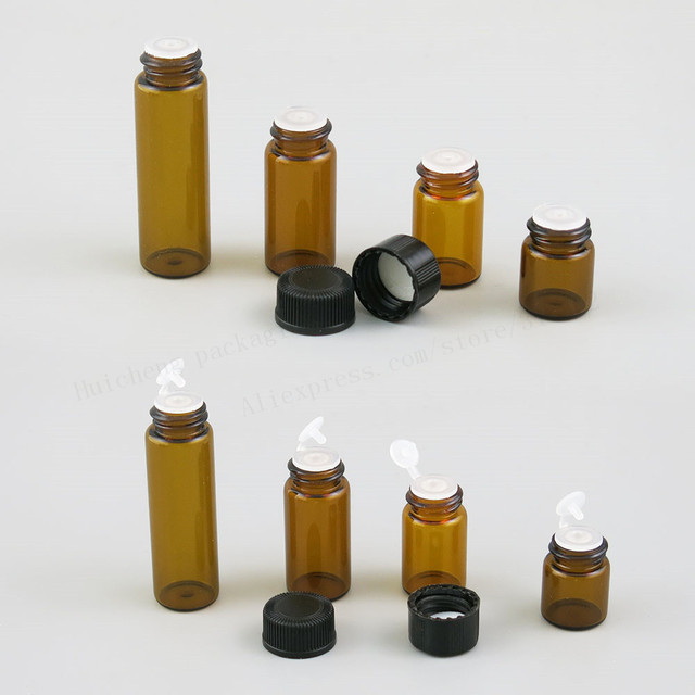 100X1ml 2ml 3ml 5ml Mini di Vetro Ambrato Bottiglia di Olio Essenziale di Orifizio Riduttore Small cap marrone Fiale di Vetro con il foro di inserimento