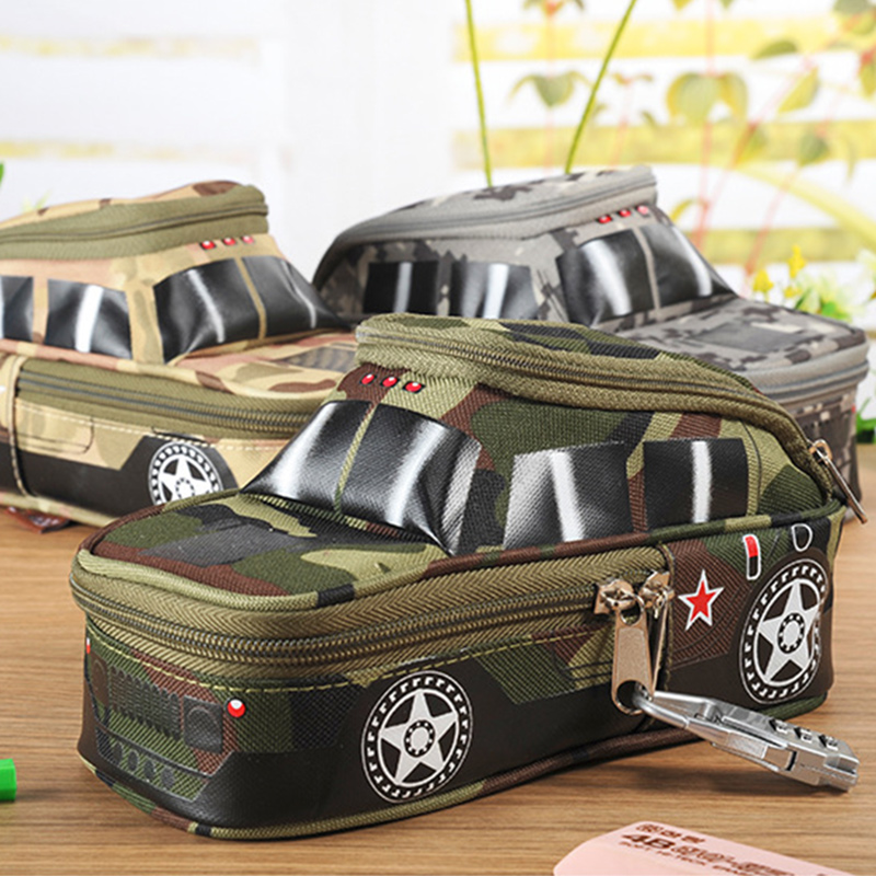 Camouflage vehicles car pencil case large capacity canvas pencil bag Cool stationery school supplies Cosmetic bag with Code Lock multi function oiler sauce wine bottle pourer plugs set 8 pcs