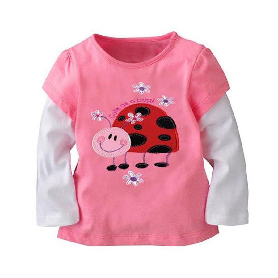 (2t-7t)6pcs/1lot Kids Clothes Cartoon Print Cotton long sleeved girl t shirts Girls autumn T-shirt Children Tops Tees