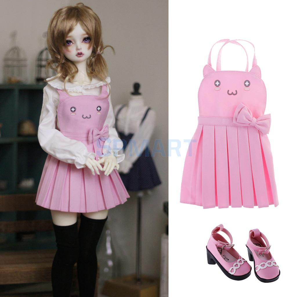 1/3 BJD Dolls Cute Cat Face Shoulder Strap Dress & PU Mary Jane Shoes Suit for Dollfie LUTS DOD MSD DZ Dolls Clothes Outfit free match stockings for bjd 1 6 1 4 1 3 sd16 dd sd luts dz as dod doll clothes accessories sk1